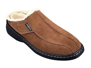 Orthofeet Asheville Mens Comfort Arthritis and Diabetic Orthotic Slippers Brown Leather 11 W US