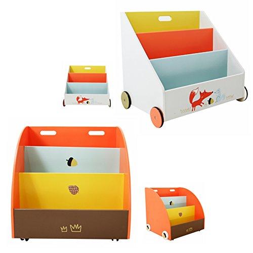 Labebe – Kinder Holz Bücherregal Spielzeugregale mit Rollen – 2 Auswahl