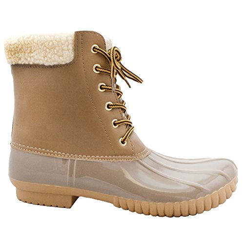 Women's ROF Mid-Calf Snow Booties Shearling Fleece Sock Lined Water Resistant Duck Rubber Rain Boots KHAKI (8)