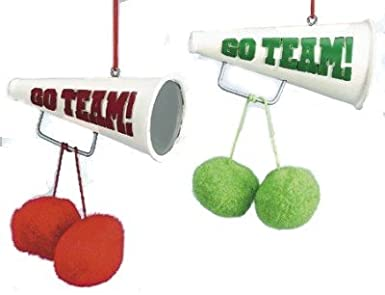 Megaphone & Pom-poms Christmas Ornaments Set of 2