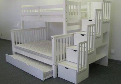 Amazon Com Bedz King Twin Over Twin Stairway Bunk Bed