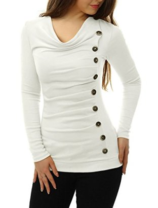 Allegra-K-Women-Cowl-Neck-Long-Sleeves-Buttons-Decor-Ruched-Top-White-XL