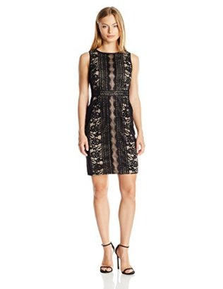 Adrianna-Papell-Womens-Petite-Embroidered-Directional-Striped-Lace-Dress-Black-6P