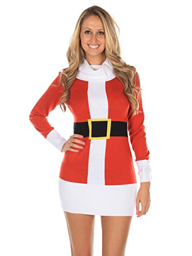 Women's Ugly Christmas Sweater - Santa Claus Sweater Dress Red Size S