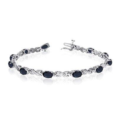 14K-White-Gold-Oval-Sapphire-and-Diamond-Bracelet