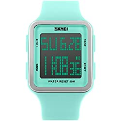 Skmei Women's Digital Sport Multifunction Waterproof Big Face Square Silicone Strap Watch Light Green SK1139A