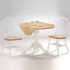 International Concepts 3-Piece 42-Inch Dual Drop Leaf Pedestal Table with 2 Windsor Chairs, White/Natural Finish