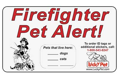 """Firefighter Pet Alert Stickers - 3M Reflective 3"""" x 5"""" Stickers - Set of 2 Stickers"""