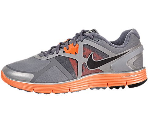 Buy NIKE LUNARGLIDE+ 3 SHIELD MENS 472540-008 (11.5, COOL GREY / BLACK - TOTAL ORANGE - REFLECT SILVER)