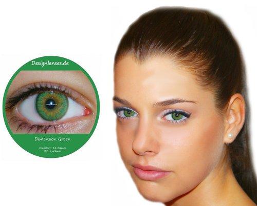 Farbige Kontaktlinsen Grün 3 Monatslinsen Contact lenses Design: Dimension Green
