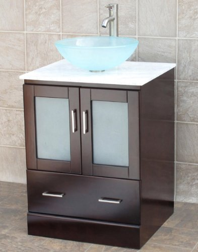 Where To Purchase 24 Bathroom Vanity Cabinet White Tech Stone Quartz Top Glass Vessel Sink Faucet Mo Thelma Usry001