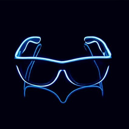 Aquat Light-up Illuminated Neon Electroluminescent EL Wire LED Glasses Light Shutter Frame Costumes Eyeglasses RB01