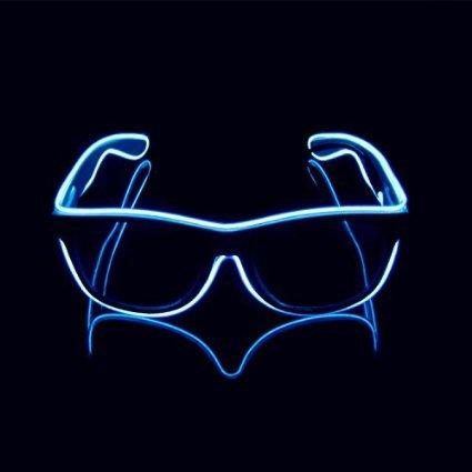 Aquat Light-up Illuminated Neon Electroluminescent EL Wire LED Glasses Light Shutter Frame Costumes Eyeglasses RB01