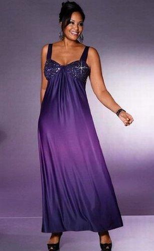 M.I.M. Langes Abendkleid im Farbverlauf lila, Größe:52