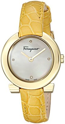 Salvatore-Ferragamo-Womens-Gancino-Evening-Swiss-Quartz-Stainless-Steel-and-Leather-Casual-Watch-ColorYellow-Model-FAP040016