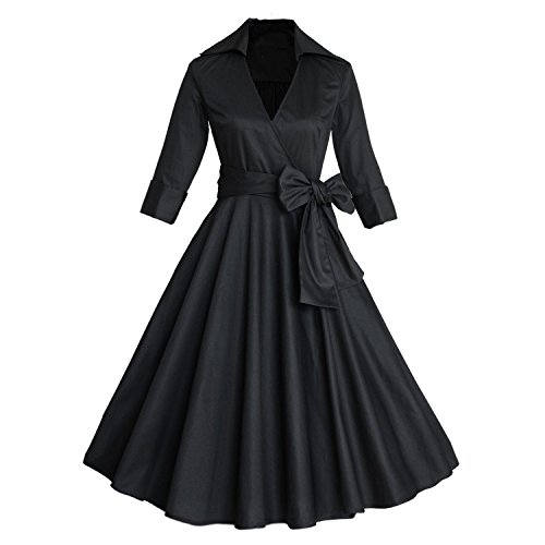 iShine Retro Kleid 50er Damen Rockabilly Faltenrock Cocktailkleid Knielang Abendkleider Vintage Kleid mit Gürtel