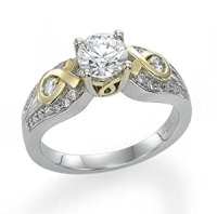 Amazon.com: 18k White Gold Engagement Ring with Yellow