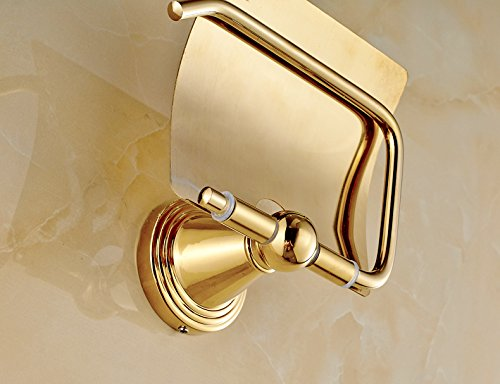 Rozin Luxury Gold Polished Roll Toilet Paper Holder Wall