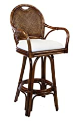 Classic Indoor Swivel Rattan & Wicker Counter Stool w Cushion (Antique Beige)