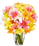 Flowers - Stunning Lily Bouquet - Premium (FREE Vase Included)
