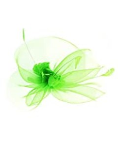 NYfashion101 Cocktail Elegant Ruffle Feather Sinamay Fascinator Headband (Lime)