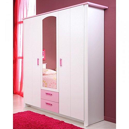 Kleiderschrank 3 Türen B 136 cm weiß rosa Schrank Drehtürenschrank Wäscheschrank Spiegelschrank Kinderzimmer Jugendzimmer Mädchenschrank