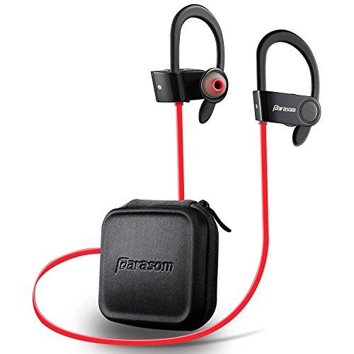 Bluetooth イヤホン 【1年保証付】 スポーツ 耳掛け式 ワイヤレス イヤホン 高品質高音質 ステレオイヤホン 黒赤2色 CVC6.0 ノイズキャンセリング搭載 マイク内蔵Parasom A6 ブラック・レッド
