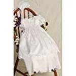 Baby Girls White Convertible Christening Baptism Gown Bonnet Set 0-24M