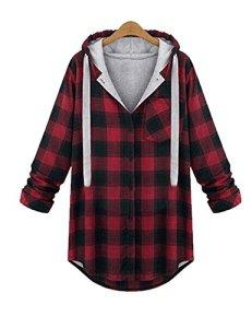 OMEYAWANSHIDAWomen-Cotton-Long-Sleeve-Hoodie-Button-down-Plaid-Flannel-Shirt
