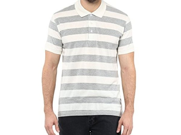 American Crew Men's Polo Collar Stripes T-Shirt (Off White & Grey Melange)