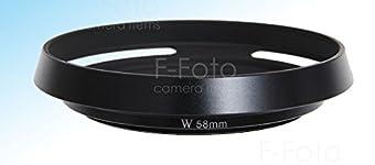 【F-Foto】   『各社対応 ライカ風メタルフード』 クラシックメタルレンズフード ブラック スリム&ワイド(広角、薄型)タイプ 58mm