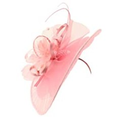 Big Kentucky Derby Feather Floral Organza Headband Fascinator Cocktail Hat Pink