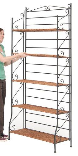 5 Shelf Foldable Iron Bakers Rack With Wicker Shelves