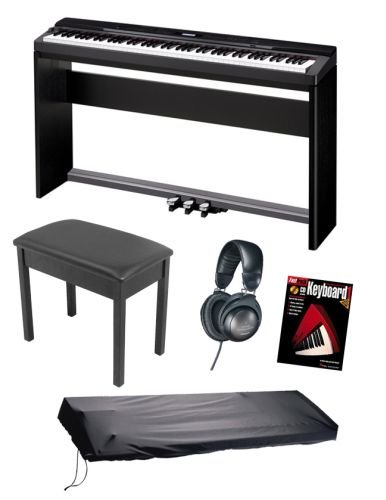 Casio PX330 Privia Digital Piano Keyboard BUNDLE including Furniture Stand, Pedalboard, Bench, Headphones, Dustcover and Book