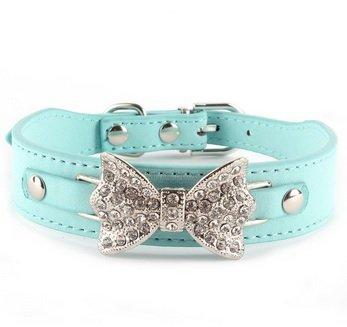 Dog Collar Bling Crystal Bow Leather Blue Puppy Choker Cat Necklace XSmall