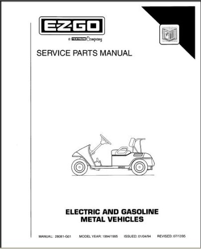 EZGO 28081G01 1994-1995 Service Parts Manual For Electric