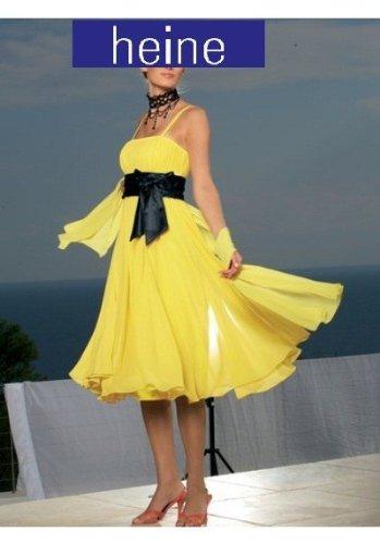 HEINE Empire Abendkleid Kleid Chiffon in gelb, Größe:36
