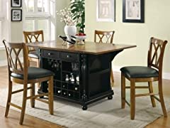 Large Scale Kitchen Island in Black and Cherry Finish
