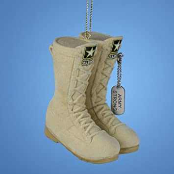 Army Flocked Boots Christmas Ornament