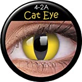 ColourVUE Crazy Farbige Fun Kontaktlinsen gelbe Katzenaugen / Cat Eye 1 Paar (2 Stück) incl. 60ml Pflegemittel und Behälter! Mit Verdrehschutz!