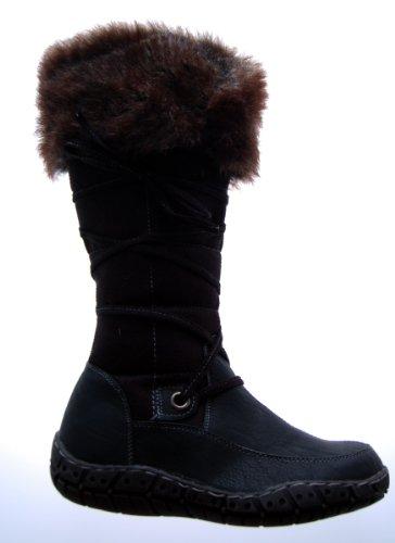 Stiefel Damen Schwarz Schuhe gefüttert Winter Stiefel mit Fell Gr. 38