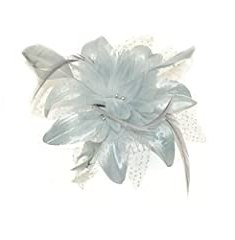 Silver Grey Flower and Spotted Net Bridal Hair Comb Fascinator