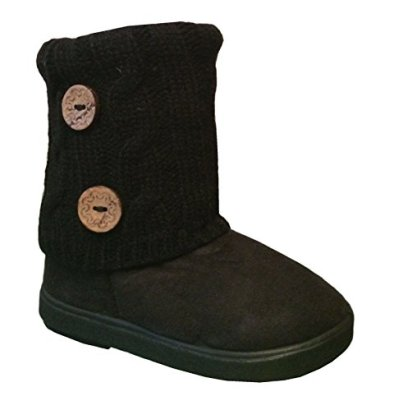 New-Girls-Toddlers-Kids-Slouch-Comf-Midcalf-Suede-Boots-Shoes-7-Black-2285C