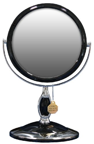 UV塗装 スタンドミラー 3倍拡大鏡付 L ブラック YHC-013