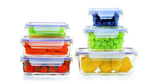 Popit! Glass 6+6 set (12 piece airtight borosilicate glass set, Oven and Microwave safe - remove lids)