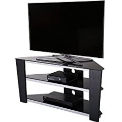 Fitueyes 47 Inch Glass and Wood Corner Tv Stand for up to 50 Inch Flat Screen Television/xbox One/ps4 Black ¡­TS312003GB