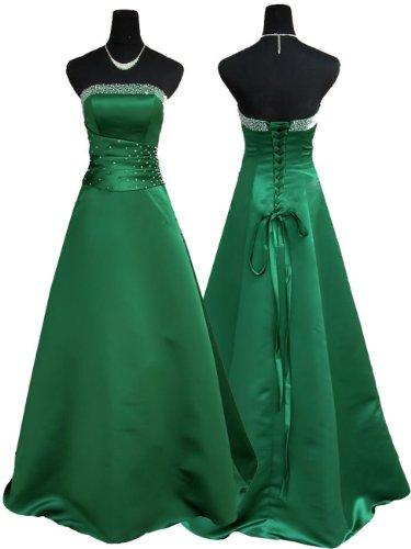 Qpid Showgirl Langes Abendkleid, A-Linie Kleid mit Luxus-Satin, Farbe Grün, 3402GN (38, Grün)