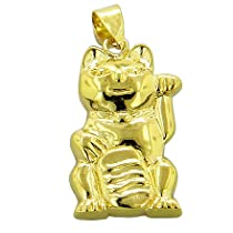 Lucky Cat And Money Talisman 925 Silver Pendant
