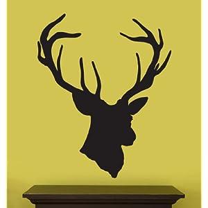 """Vinyl Wall Art Decal Sticker Deer Head Statue Silhouette 43"""" X 35"""""""