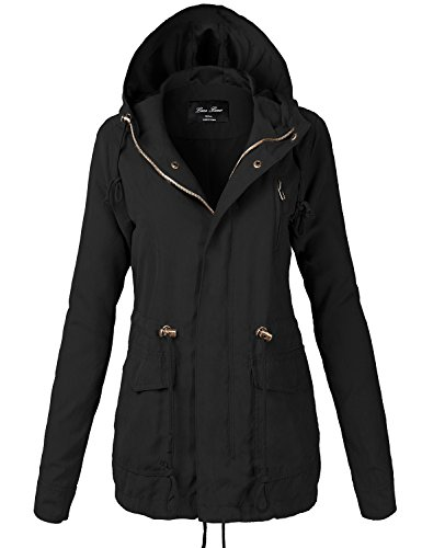 Peach Skin Waist Drawstring Hooded Zipper Utility Jackets,118-Black,Medium